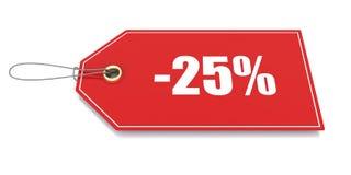 uno sconto di 25 per cento Fotografia Stock Libera da Diritti