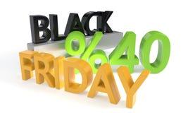 Uno sconto di Black Friday di quaranta per cento, rappresentazione 3d Fotografie Stock Libere da Diritti