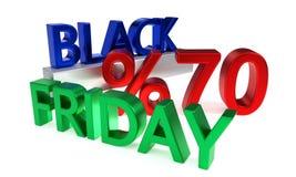 Uno sconto di Black Friday di settanta per cento, rappresentazione 3d Fotografia Stock Libera da Diritti