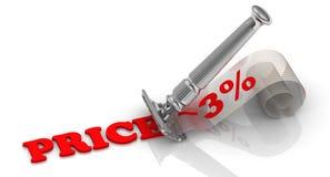 Uno sconto di 3% Penna, occhiali e grafici Immagine Stock