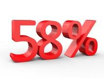 uno sconto di 58 per cento Numeri rossi 3d su fondo bianco isolato Illustrazione Vettoriale