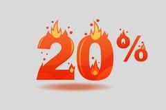Uno sconto di venti per cento, numeri su fuoco illustrazione di stock