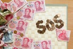Uno sguardo vicino a soldi cinesi fotografie stock