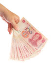 Uno sguardo vicino a soldi cinesi fotografia stock