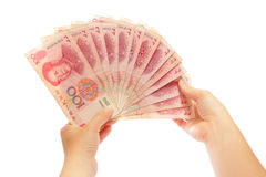 Uno sguardo vicino a soldi cinesi fotografia stock libera da diritti