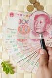 Uno sguardo vicino a Yen cinesi fotografie stock