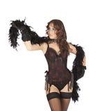 Uno showgirl sexy dell'estrattore della donna del ballerino del burlesque Fotografia Stock Libera da Diritti