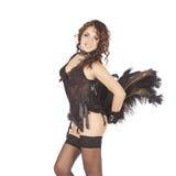 Uno showgirl sexy dell'estrattore della donna del ballerino del burlesque Immagini Stock Libere da Diritti