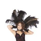Uno showgirl sexy dell'estrattore della donna del ballerino del burlesque Fotografia Stock