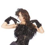 Uno showgirl sexy dell'estrattore della donna del ballerino del burlesque Immagine Stock