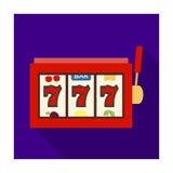 Uno slot machine in un casinò Un automatico con una leva e un quadrante Singola icona di Kasino nelle azione piane di simbolo di  Fotografia Stock