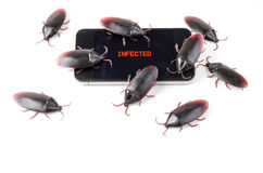 Uno Smart Phone infettato virus Immagine Stock