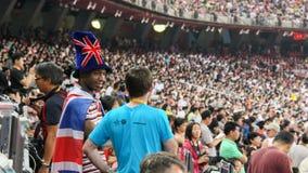 Uno spettatore britannico ai campionati Pechino 2015 del mondo di IAAF Fotografia Stock Libera da Diritti
