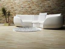 Uno spirito interno moderno un sofà, una moquette e una pianta Immagini Stock Libere da Diritti