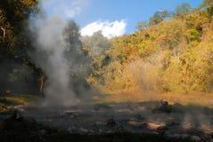 Uno stagno della sorgente di acqua calda con cielo blu e la montagna Fotografia Stock