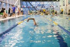 Uno stagno di Swimming The Front Crawl In A del nuotatore fotografia stock