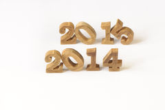 uno stile di legno di 2014 e 2015 numeri Fotografia Stock