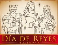 Uno stile disegnato di tre Re Magi a disposizione che celebra il ` di Dia de Reyes del `, illustrazione di vettore illustrazione vettoriale