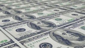 Uno strato di 100 note del dollaro Fotografie Stock Libere da Diritti