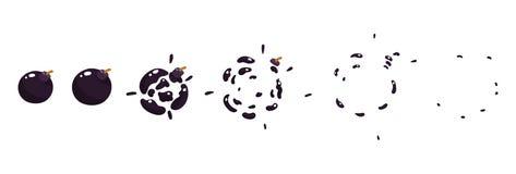 Uno strato di Sprite, esplosione di un boomb Animazione per un gioco o un fumetto Immagini Stock
