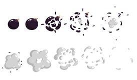 Uno strato di Sprite, esplosione di un boomb Animazione per un gioco o un fumetto Fotografia Stock