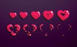 Uno strato di Sprite, esplosione di un cuore Animazione per un gioco o un fumetto Fotografia Stock Libera da Diritti