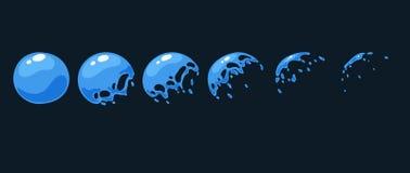 Uno strato di Sprite, una trappola di acqua, una spruzzata, una bolla Animazione per un gioco o un fumetto Fotografia Stock