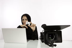 Uno studente arabo With uno Showreel Immagine Stock
