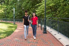 Uno studente di college che cammina sulla città universitaria Immagini Stock