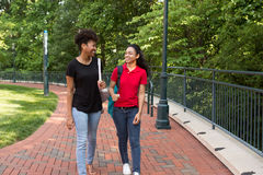 Uno studente di college che cammina sulla città universitaria Fotografia Stock