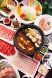 Uno stufato di castrato speciale nello stile cinese con manzo, carne di maiale, frutti di mare, mus immagine stock libera da diritti
