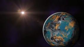 Uno zoom lento fuori un Exoplanet illustrazione di stock