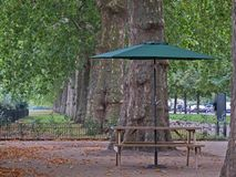 Somewhere to linger in the park. An unoccupied bench and parasol providing an enticing place to sit in a London park Royalty Free Stock Photo