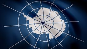 Unofficial flag of Antarctica. Realistic waving in wind flag of Antarctica with detailed texture of fabric. Close-up. Animation of Antarctica flag with royalty free illustration