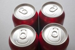 Unopened Aluminum Cans. A close up on the top of unopened aluminum cans Royalty Free Stock Photos