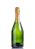 Unopened bottle of champagne isolated on white background Stock Images