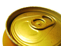Unopened Canned Drink. Unopened yellow can on white with water drops. Selective focus Royalty Free Stock Photos