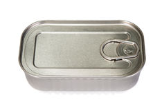 Unopened tin of fish. On a white background Royalty Free Stock Photos