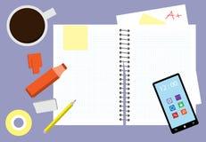 Unordentliche Studien-Schreibtisch-Vektor-Illustration vektor abbildung