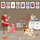 Unordentliche unordentliche Ausgangskinderkinder malen alle über frustriertem Druck der Wandmutterfrauen-Blicke Lizenzfreie Stockfotos