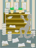 Unordentlicher Bücherschrank Stockbilder