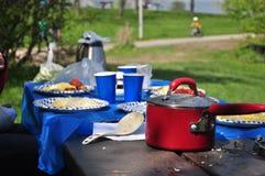 Unordentlicher Picknicktisch lizenzfreies stockfoto