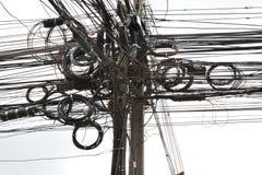 Unordentlicher unordentlicher Draht u. Kabel Bangkoks Lizenzfreies Stockfoto