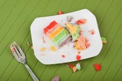 Unordentliches placemat, nachdem Kuchen gegessen worden ist Stockfoto