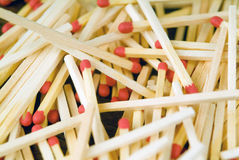 Unordered matches on a table. Unordered matches on a brown table Stock Photos