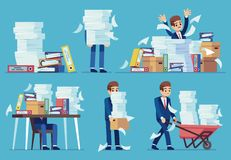 Free Unorganized Office Work. Accounting Paper Documents Piles, Disarray In Files On Accountant Table. Routine Paperwork Royalty Free Stock Photography - 154523947