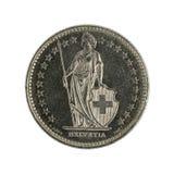 Unos moneda 1987 del franco de los wiss aislada en el fondo blanco foto de archivo libre de regalías