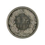 Unos moneda 1987 del franco de los wiss aislada en el fondo blanco imágenes de archivo libres de regalías