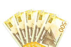 Unos nuevos 500 billetes de banco de la corona noruega con el espacio de la copia imágenes de archivo libres de regalías