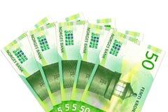 Unos nuevos 50 billetes de banco de la corona noruega con el espacio de la copia imagen de archivo libre de regalías